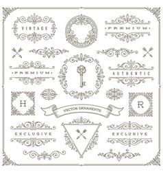 Set of vintage ornaments design elements vector image