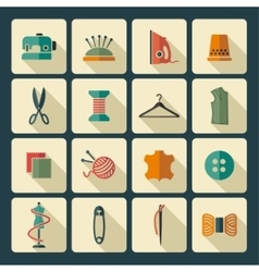 Sewing and needlework icons vector