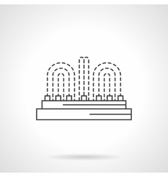 Illuminated fountain flat line icon vector