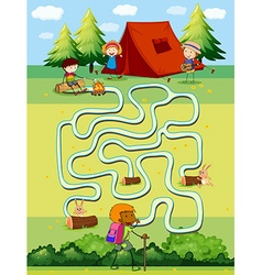 Game template with children camping in the field vector