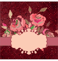 Postcard with roses and polka dot eps 8 vector