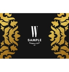 Golden luxurious logo frame and monogram golden vector