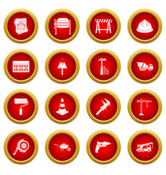 architecture icon red circle set vector image