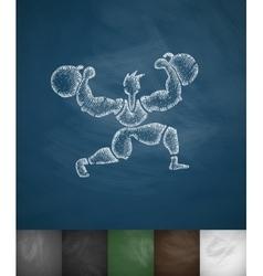 Athlete icon hand drawn vector
