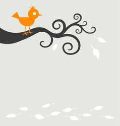 Bird tree autumn vector