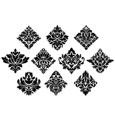 Black and white damask arabesque elements vector image