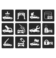 Black car and automobile service icon vector