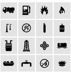 black natural gas icon set vector image vector image