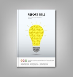 Brochures book or flyer with colored puzzle bulb vector image