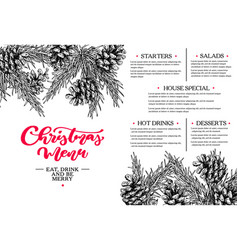 christmas menu restaurant and cafe template vector image vector image
