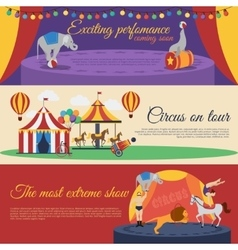Circus announcements horizontal banners set vector