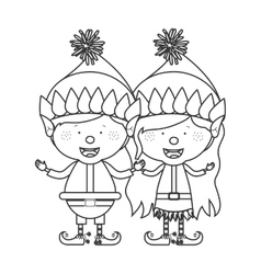 Contour with couple of christmas gnome children vector