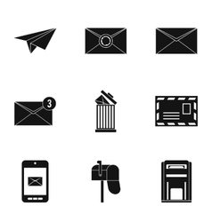 E-mail icons set simple style vector