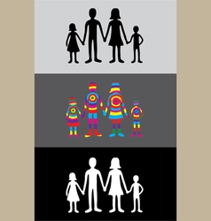 Family rainbow silhouette vector image vector image