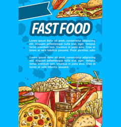 fast food poster for restaurant menu design vector image