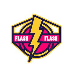 Flash logo badge with lightning symbol design vector