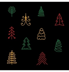 Hand drawn Christmas trees on black background vector image