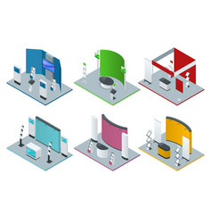 Isometric set of promotional stands or exhibition vector
