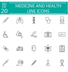 Medicine and health line icon set medical symbols vector