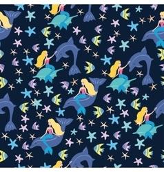 Mermaids and fish pattern vector