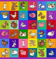pattern design with cartoon farm animals vector image