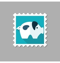 Pig flat stamp with long shadow vector