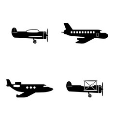 plane icons set vector image vector image
