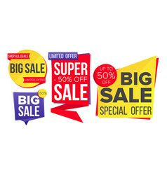 sale banner set discount tag special vector image vector image