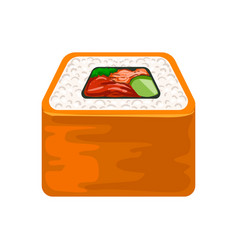 seafood sushi roll with salmon traditional vector image
