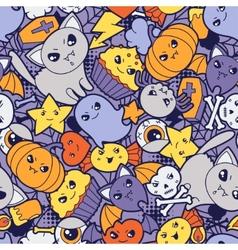 Seamless halloween kawaii pattern with cute vector image vector image