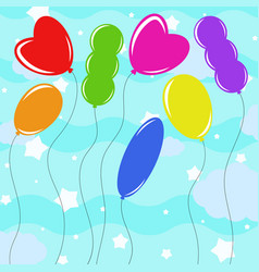 set of flat colored isolated balloons of vector image vector image