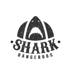 Shark with open mouth and sharp teeth summer surf vector