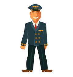smiling pilot in uniform vector image