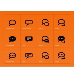 Speech bubble icons on orange background vector image
