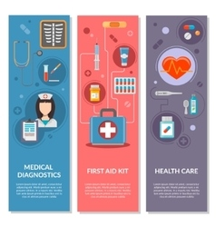 Three medical vertical banners with medical icons vector