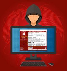 Virus malware ransomware wannacry encrypted your vector