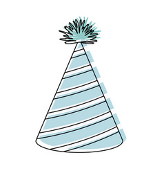 Watercolor silhouette of party hat with diagonal vector