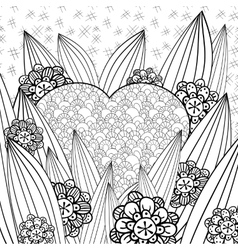 Whimsical garden adult coloring page vector