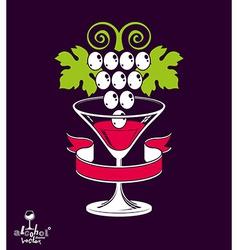 Winery theme stylized half full martini gla vector