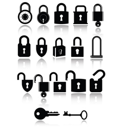 Set of lock and key icons vector image