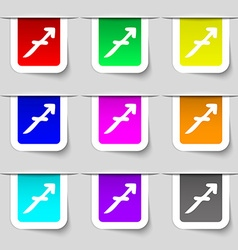 Sagittarius icon sign set of multicolored modern vector