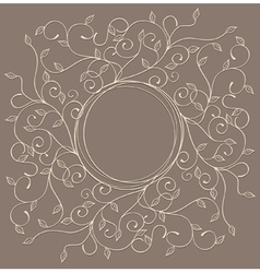Pattern with swirls and leaves with a round frame vector