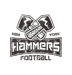 American football logo hammers new york sign vector