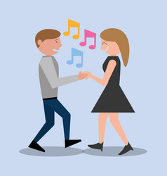 Couple dancing together leisure vector