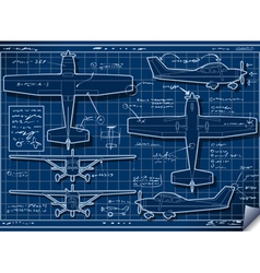 Plane Project in Five Orthogonal Views vector image