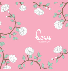 Delicate flowers on a pink white background vector