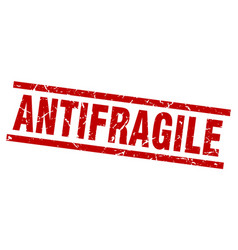 Square grunge red antifragile stamp vector