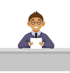 Young man on glasses reading newspaper vector
