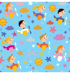 Children in airplanes pattern vector