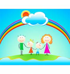 family under rainbow vector image